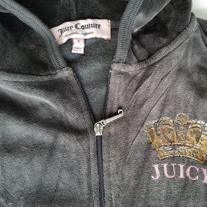 Juicy Couture Velour Full Zip Hoodie Logo Jacket
